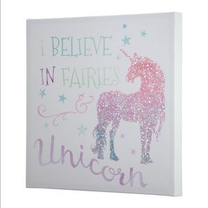 I Believe In Fairies & Unicorn Wall Canvas
